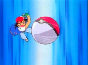 Ash Ketchum throwing a Pokeball
